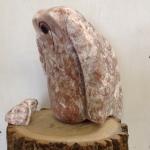 "Fledgling (Alabaster, Lake Champlain Beach Stone, Wood) 13.5""X10""X12"", 2013 $250"